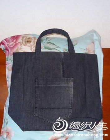 牛仔裤改作的购物袋