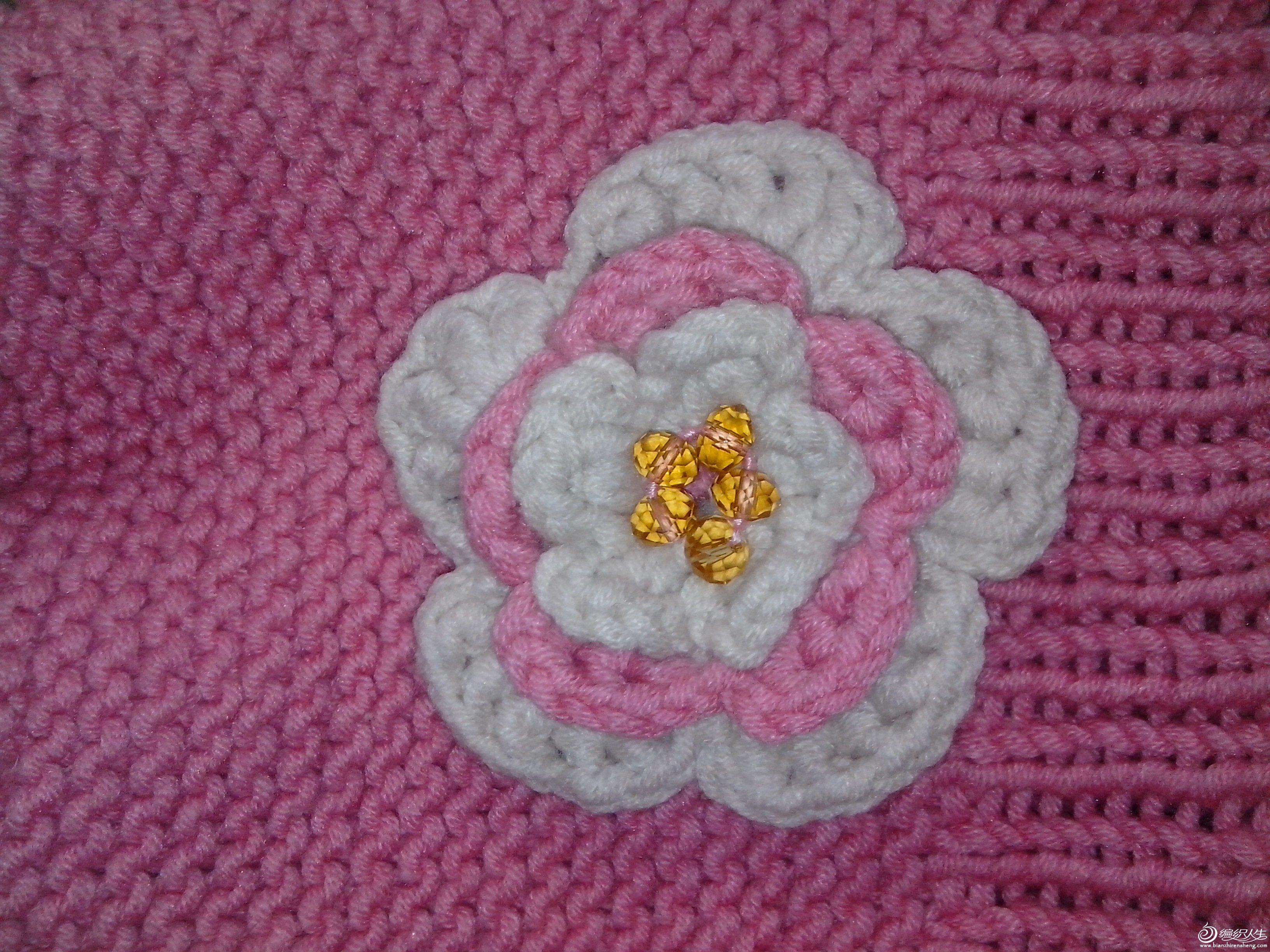 花朵特写,中间的珠子是淘宝上买衣服,卖家送的手链,我拆了,缝上去的