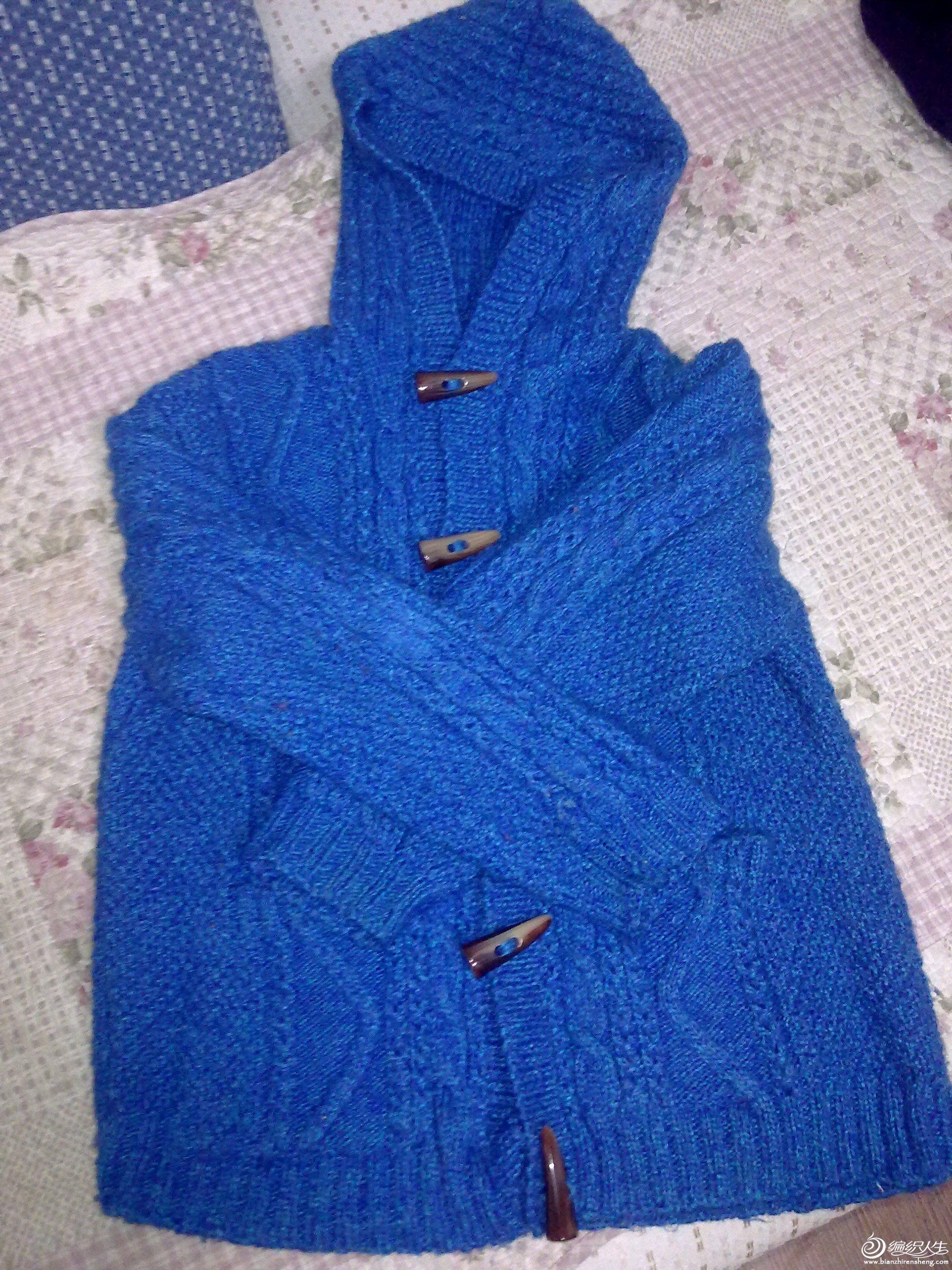 蓝色带帽开衫1