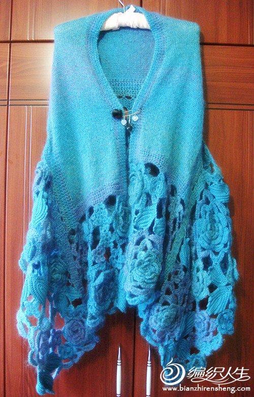 可爱花朵短袖外套编织