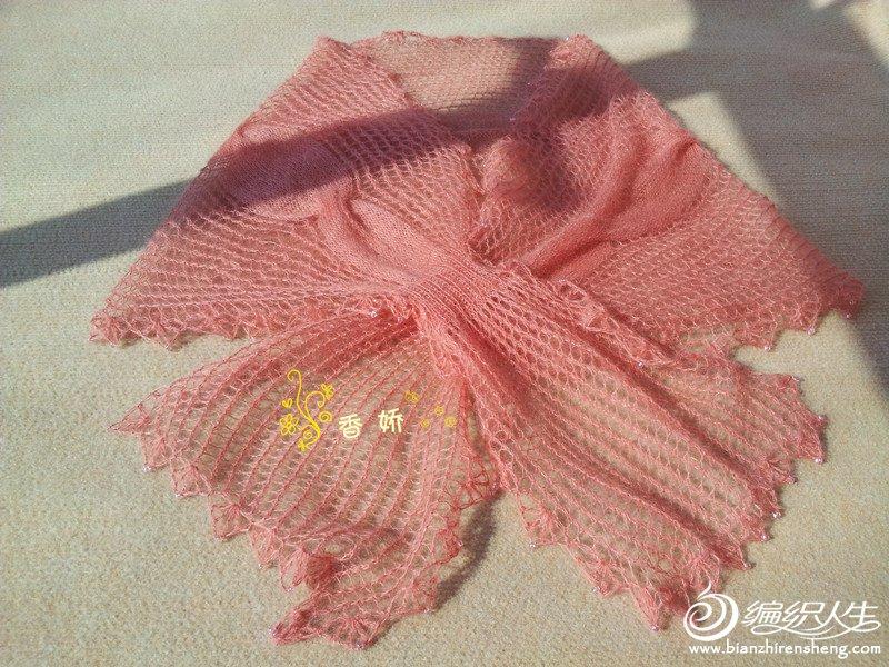 排花,小边14针织镂空花样,中间26针织下针扭麻花,大边16针织镂空花样