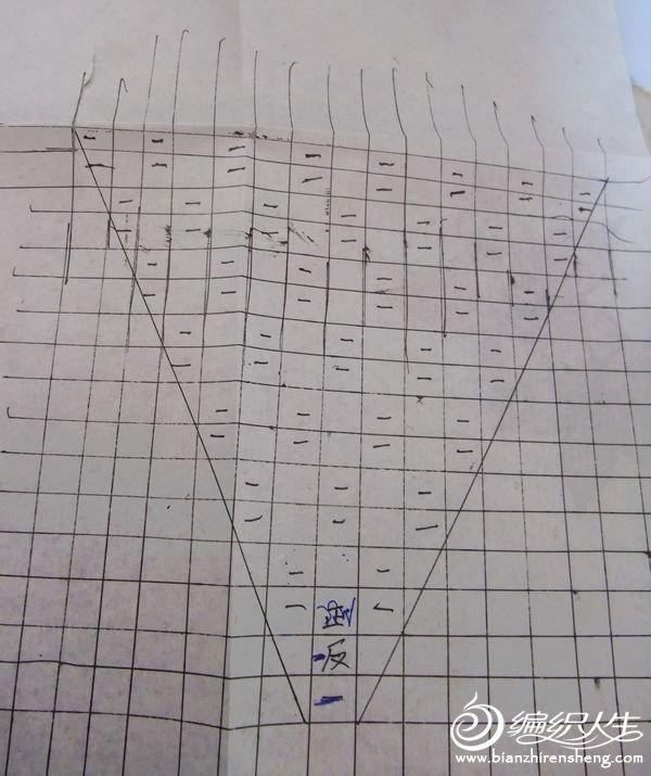 空格是正针,—— 是反针 这是半个菱形花样