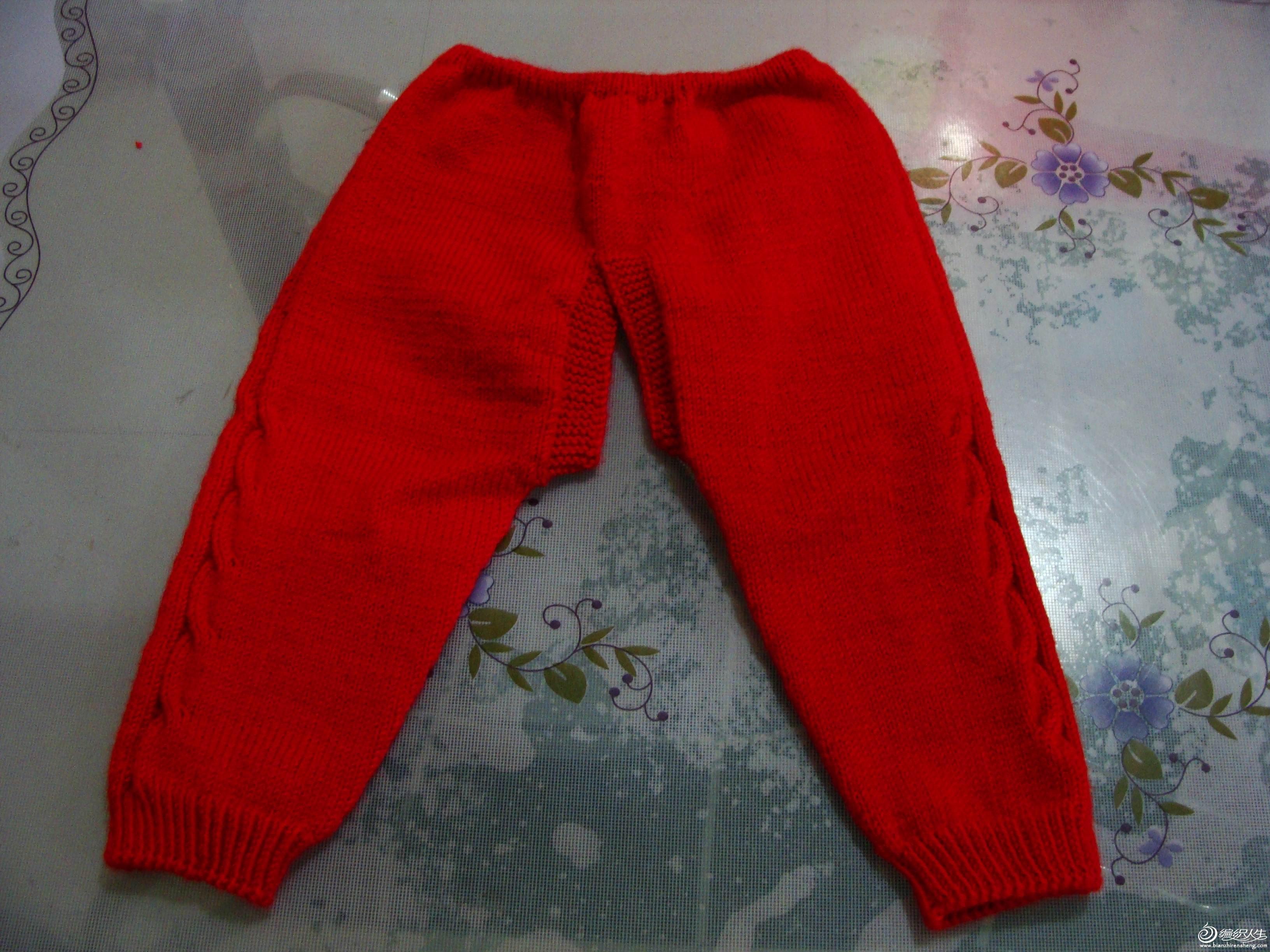 裤腰织的空心针。