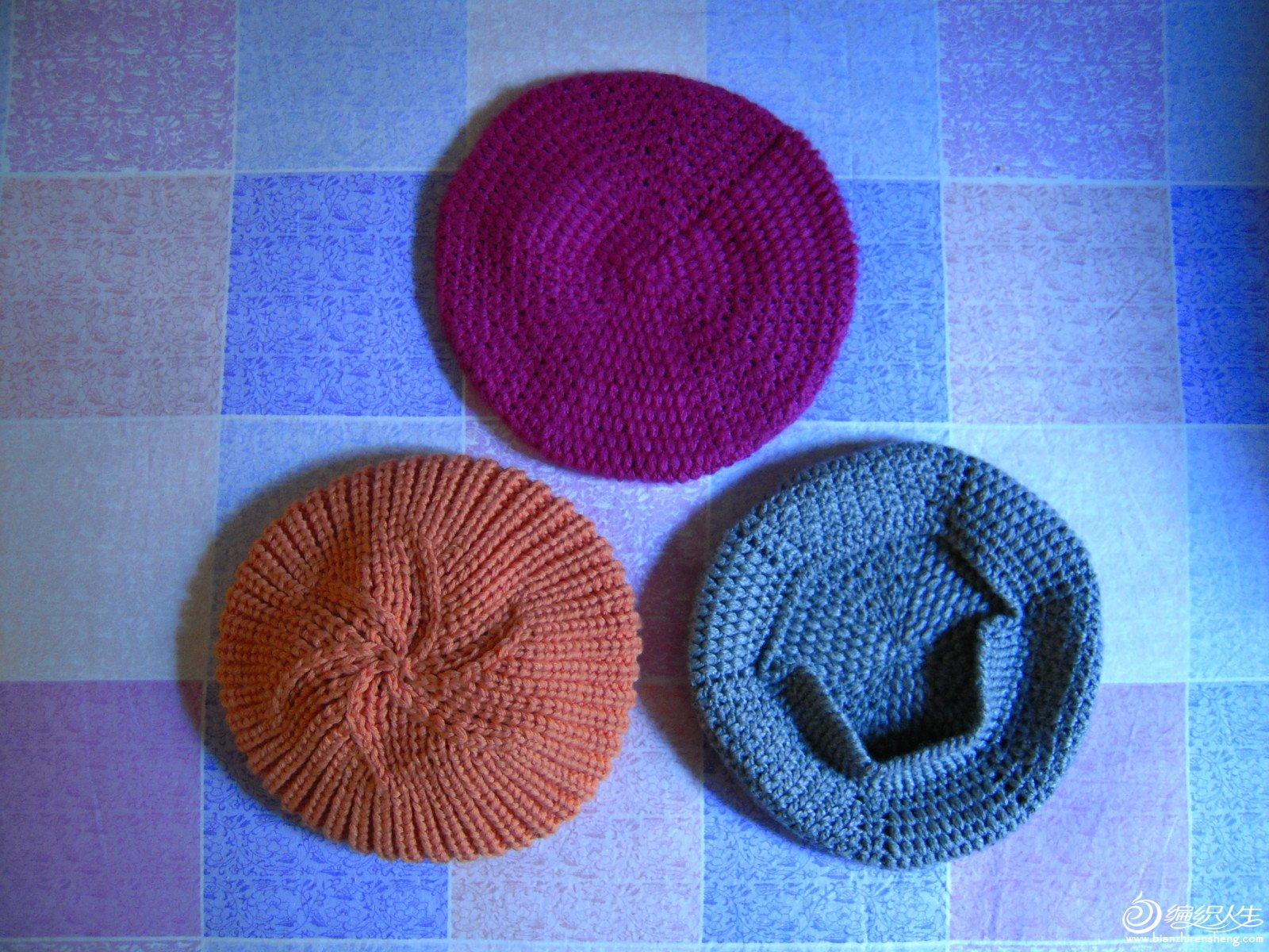 棒针的橘色帽子用的棒针5号 起头90针底边织完加10针上面织13厘米分成6片隔一行一减针,减到剩6针时收口即可 ...