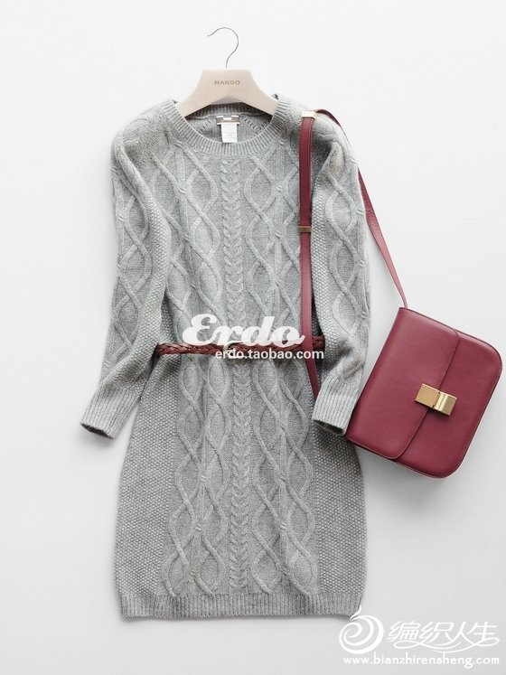 圆领长袖麻花针长款羊绒连衣裙.jpg