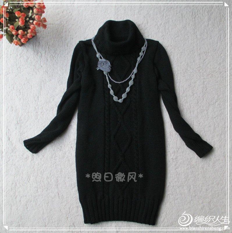 黑色菱形花连衣裙1