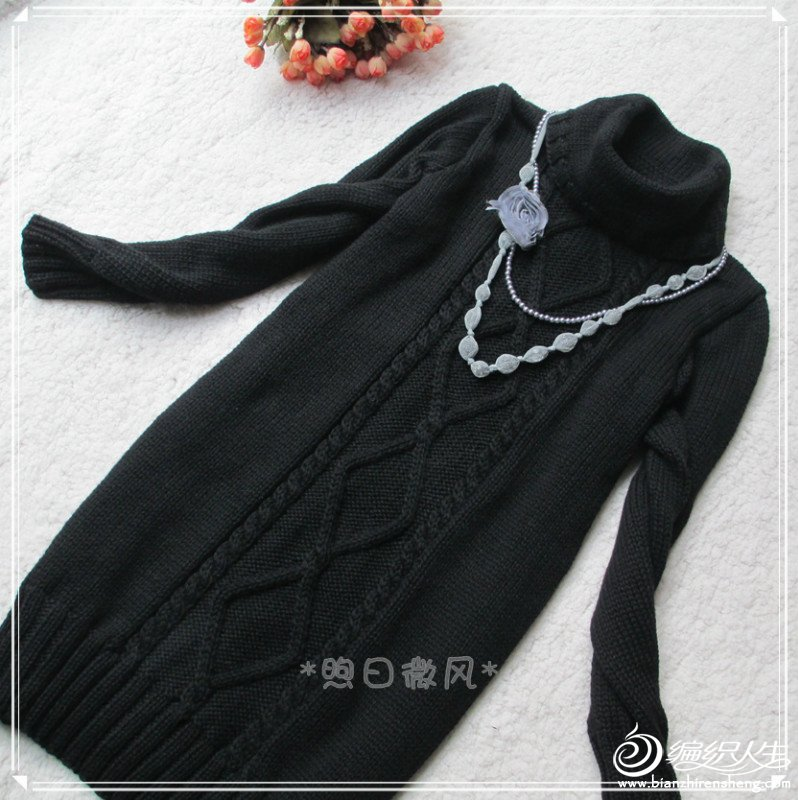黑色菱形花连衣裙2