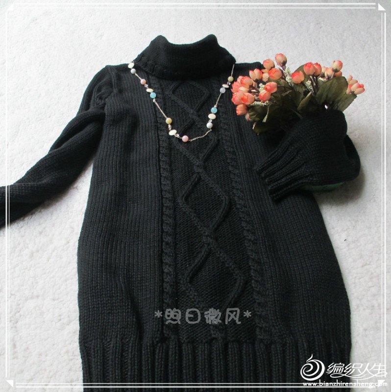 黑色菱形花连衣裙3