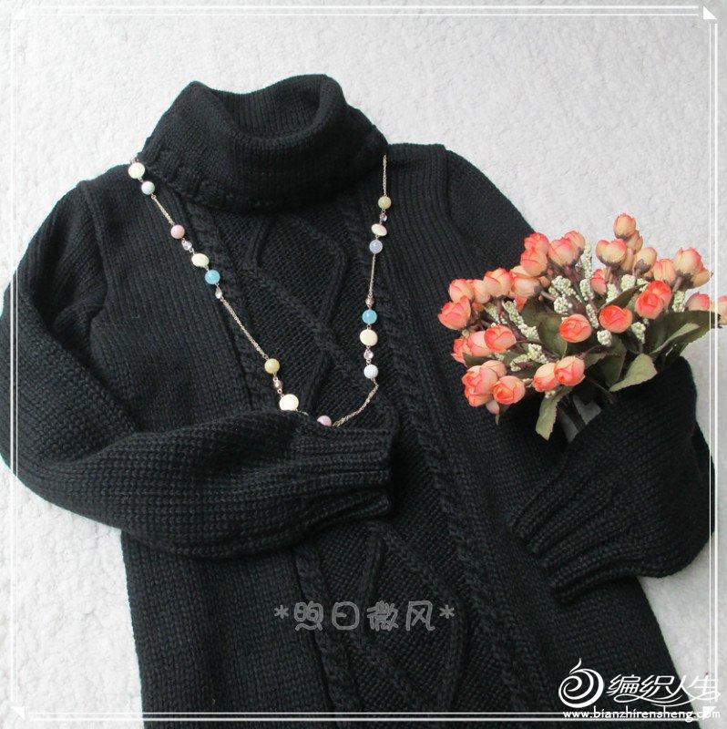 黑色菱形花连衣裙4