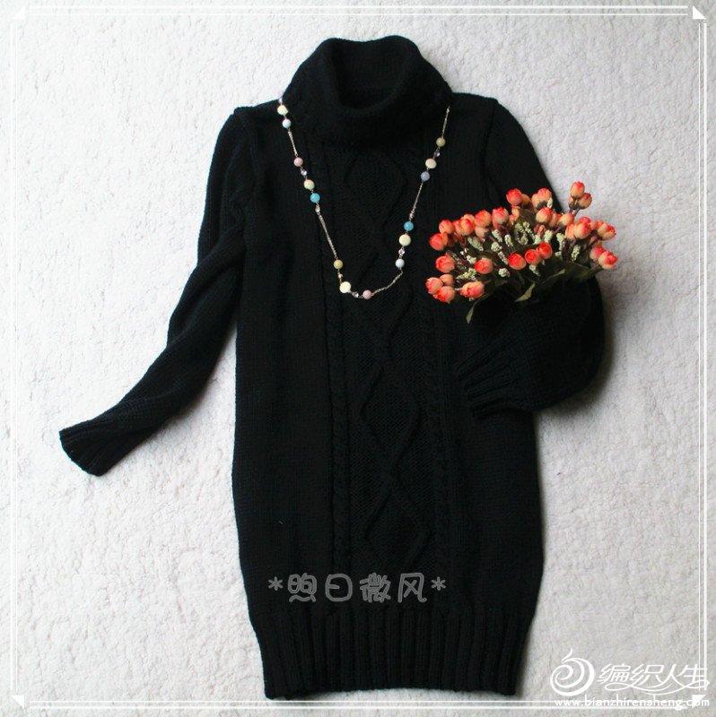 黑色菱形花连衣裙5