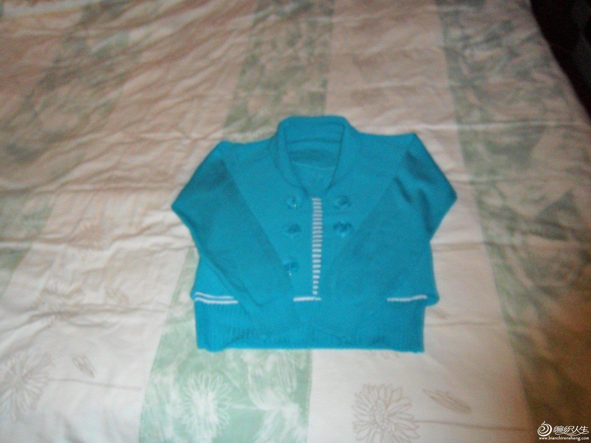 1.孔雀绿假两件套针织衫,胸围86厘米,衣长51厘米