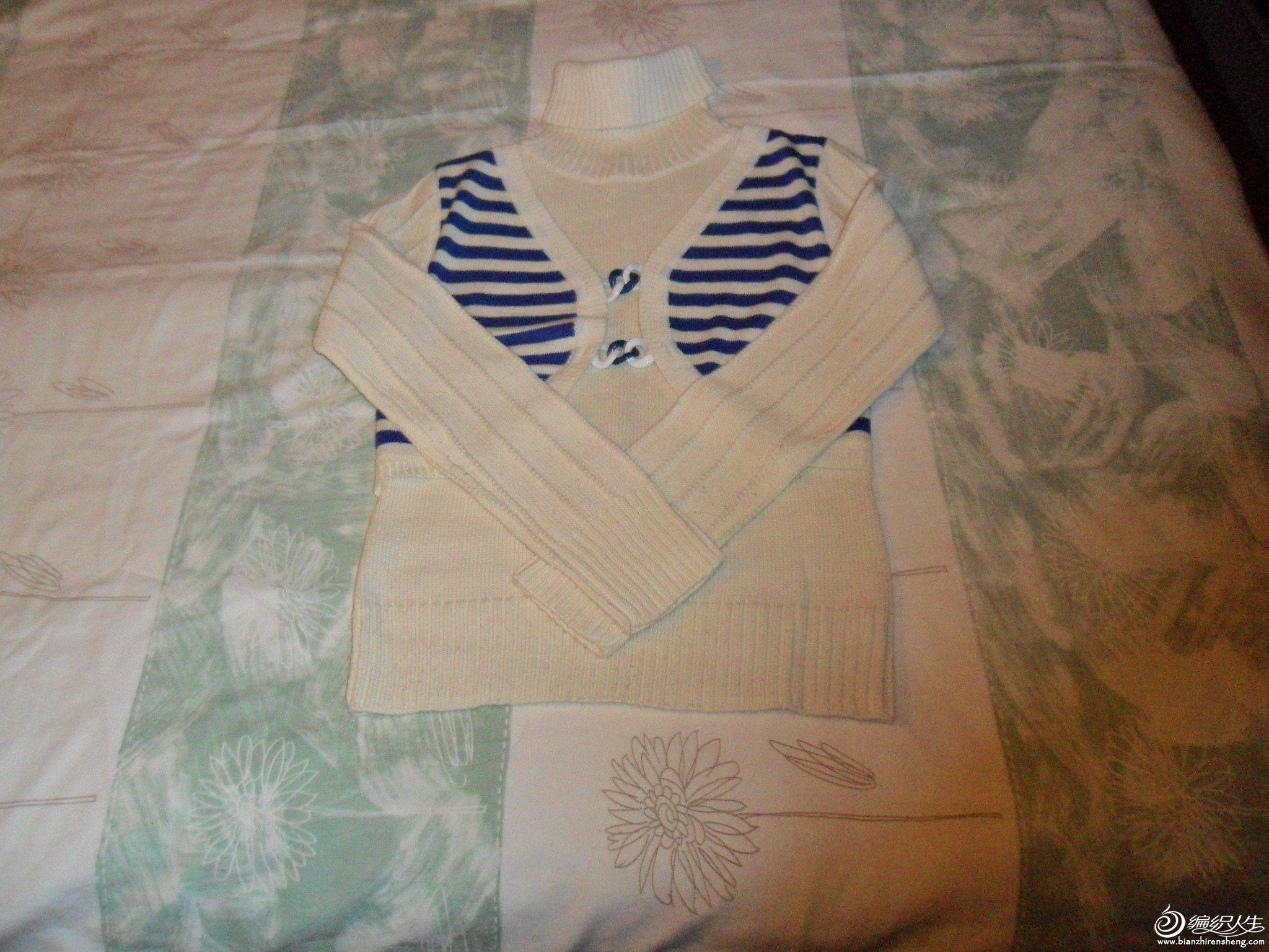 2.假两件套毛衣,胸围40厘米,衣长54厘米,50%羊毛