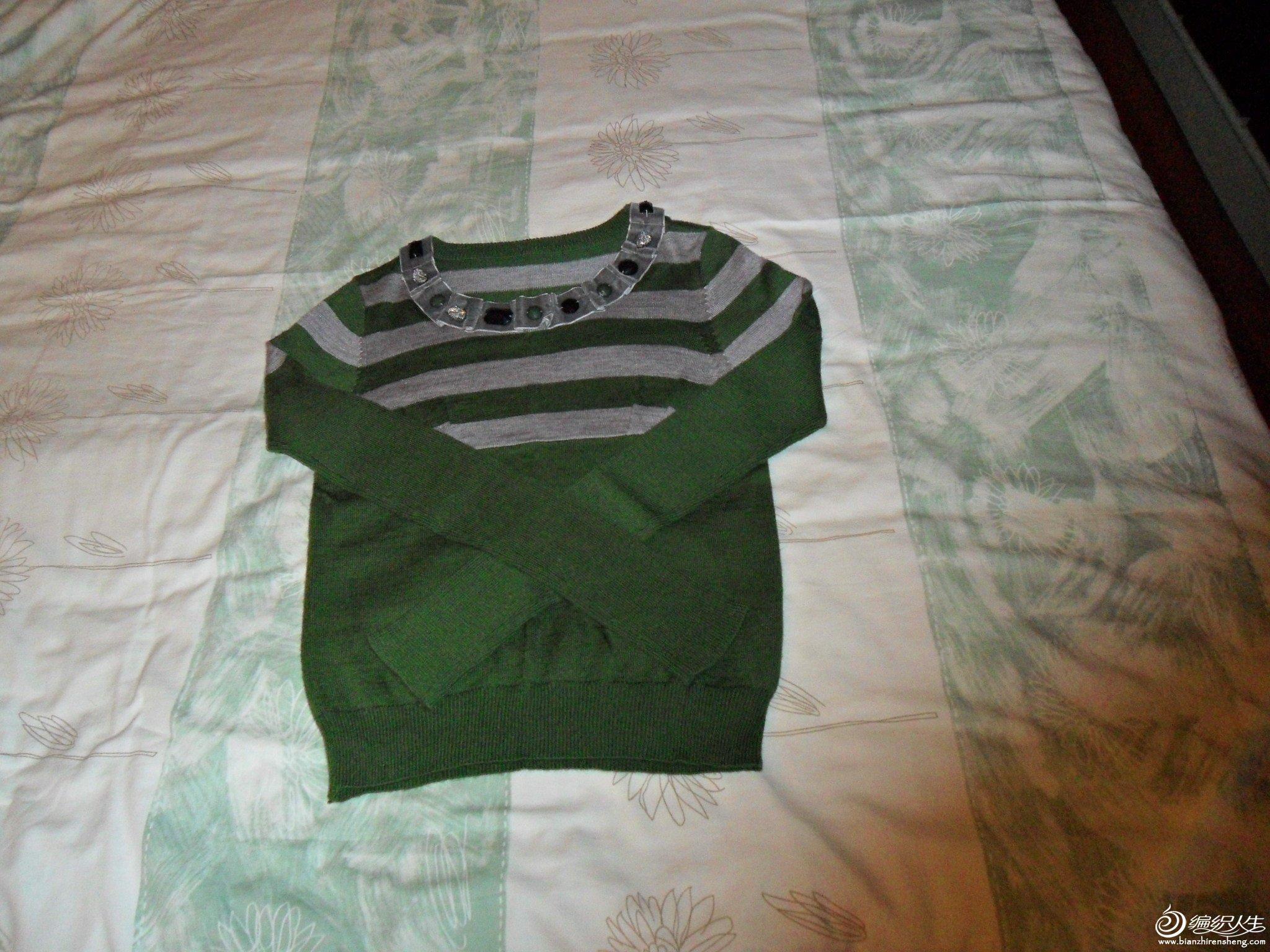 绿色毛衣,胸围40厘米,衣长52厘米,30%羊毛
