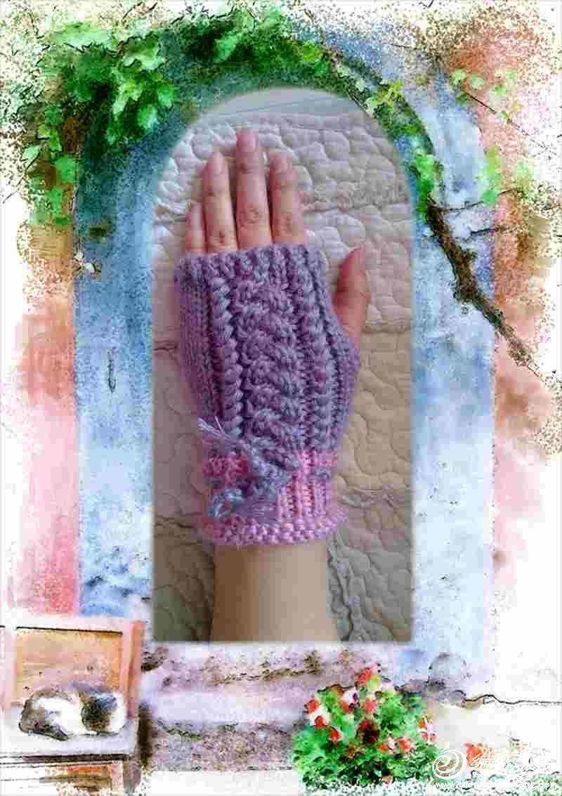 双股东丽绒,粉色配紫灰