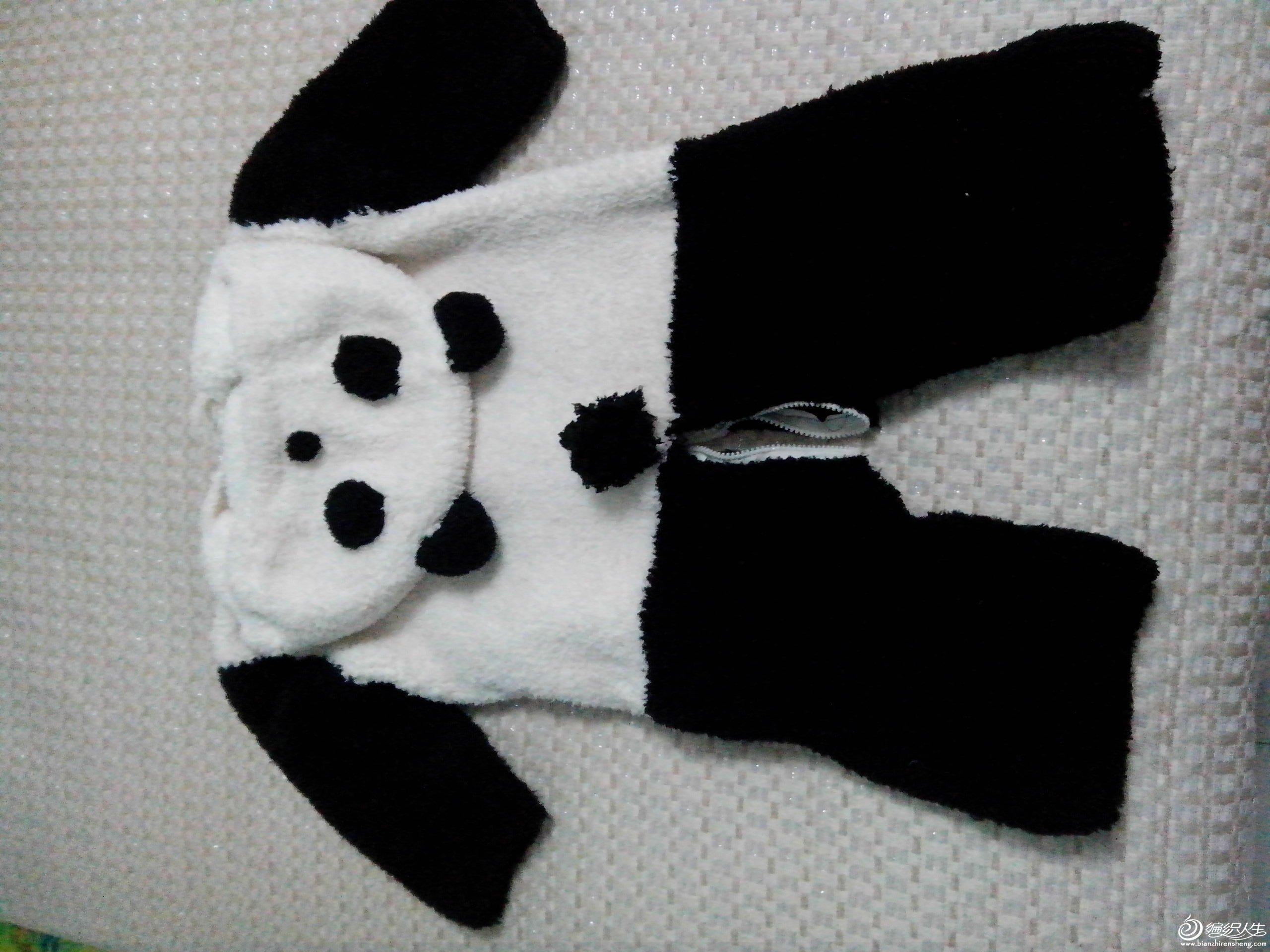 新手晒给宝宝织的熊猫连体衣 有真人秀