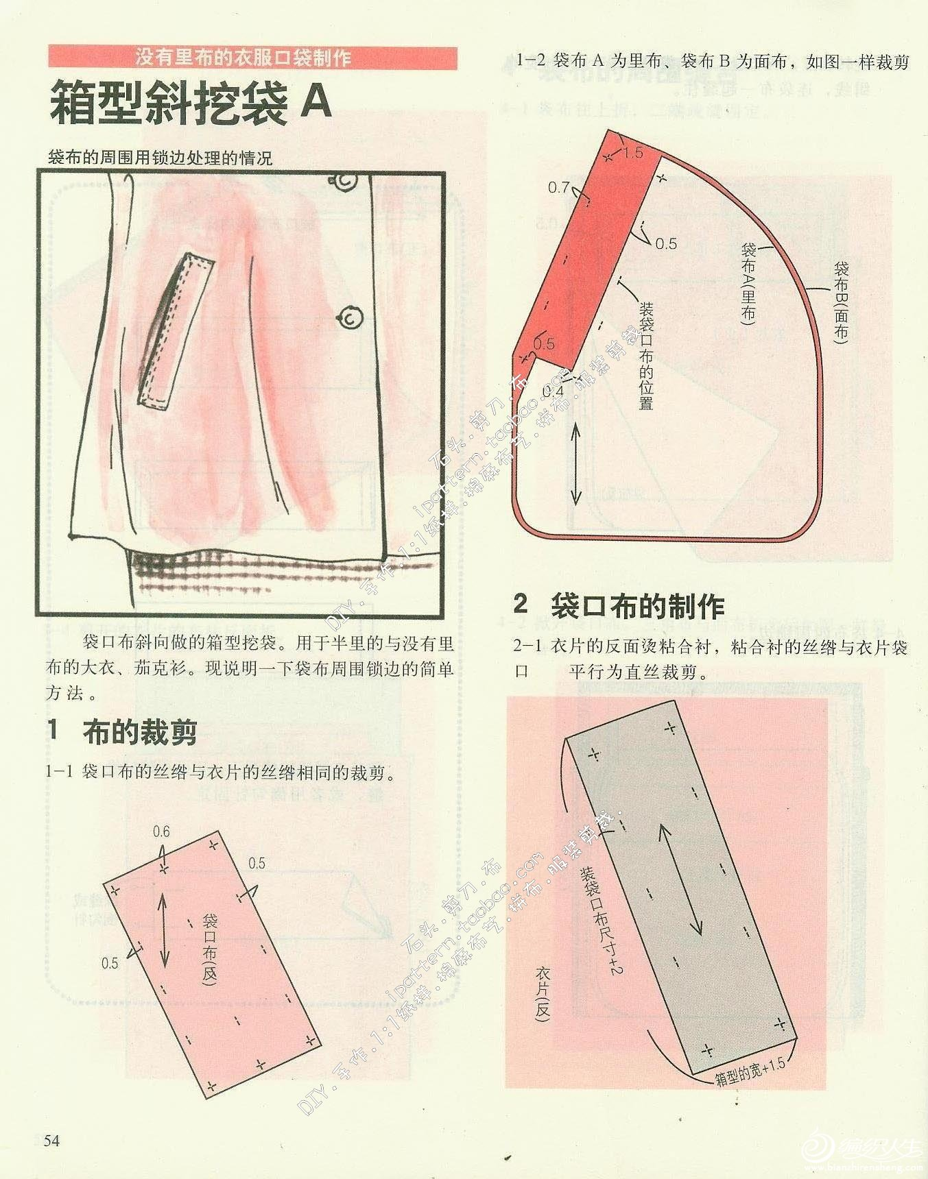 介绍几种口袋的缝制方法_服装设计与裁剪_编织人生