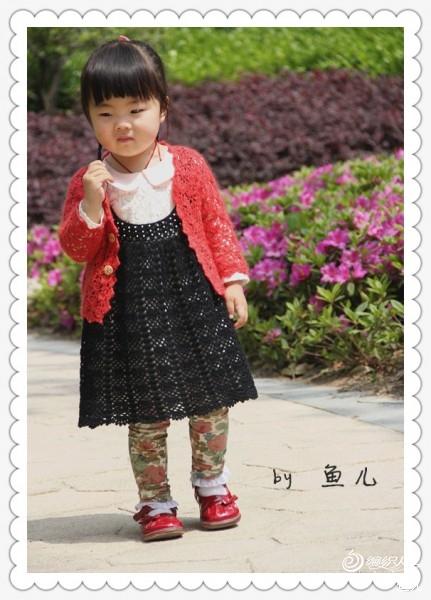 [50~80cm婴幼儿毛衣] 鱼儿*手工~~~小黑扇~~~背心裙 - yn595959 - yn595959 彦妮