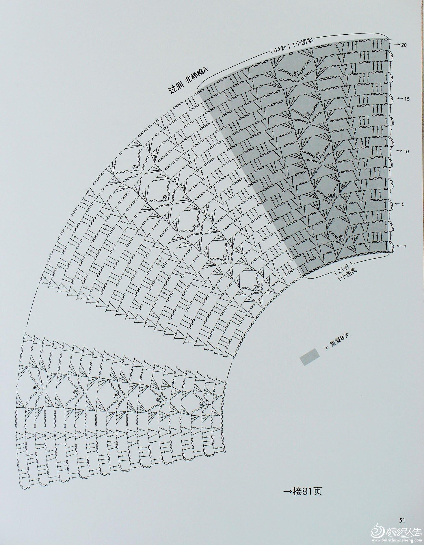 从领口开始的钩针编织 高清图片