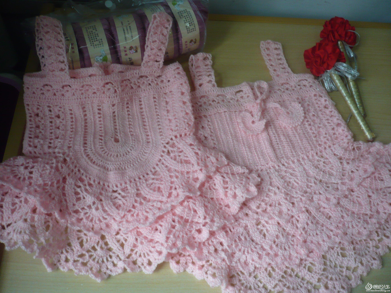 粉色回忆宝宝裙 钩针仿制 高清图片