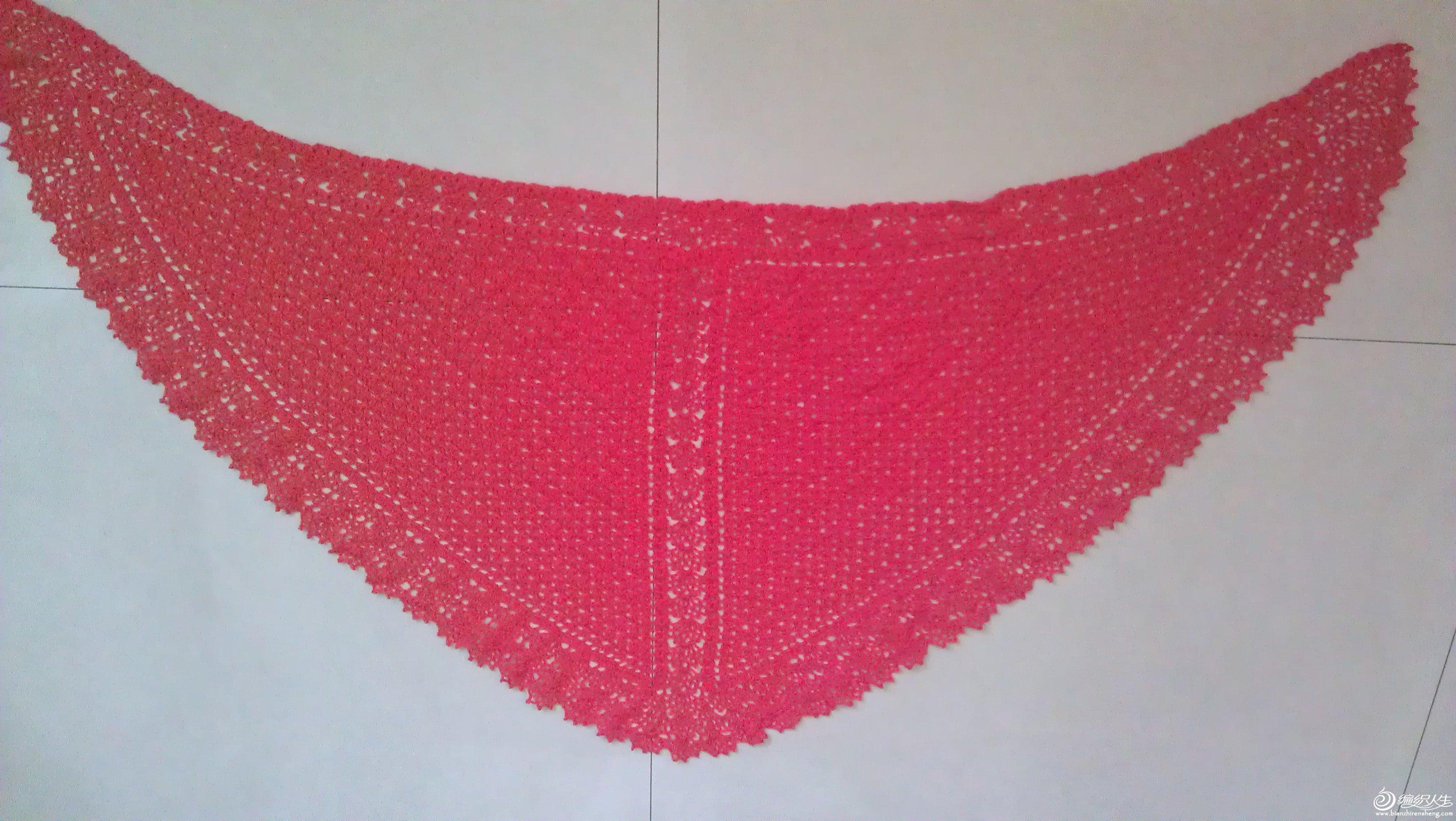 棉钩的三角围巾
