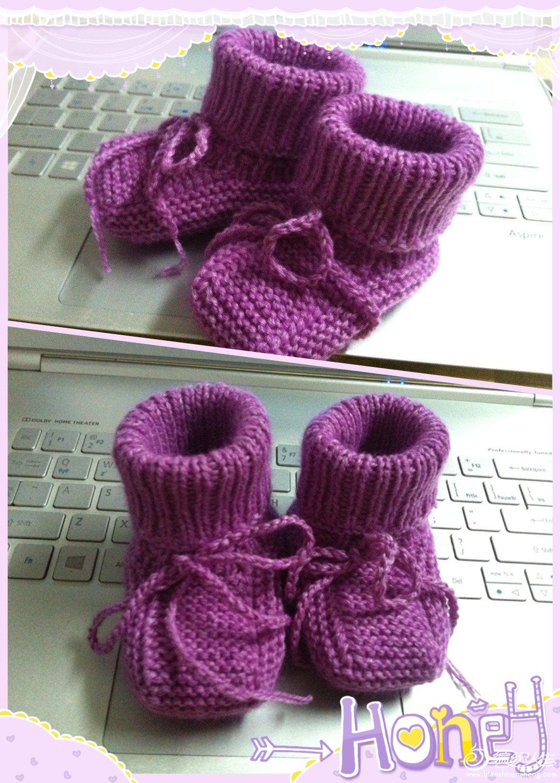 棒针织的宝宝鞋,我是从零基础开始学的,自认为进步还是很大的,发图片