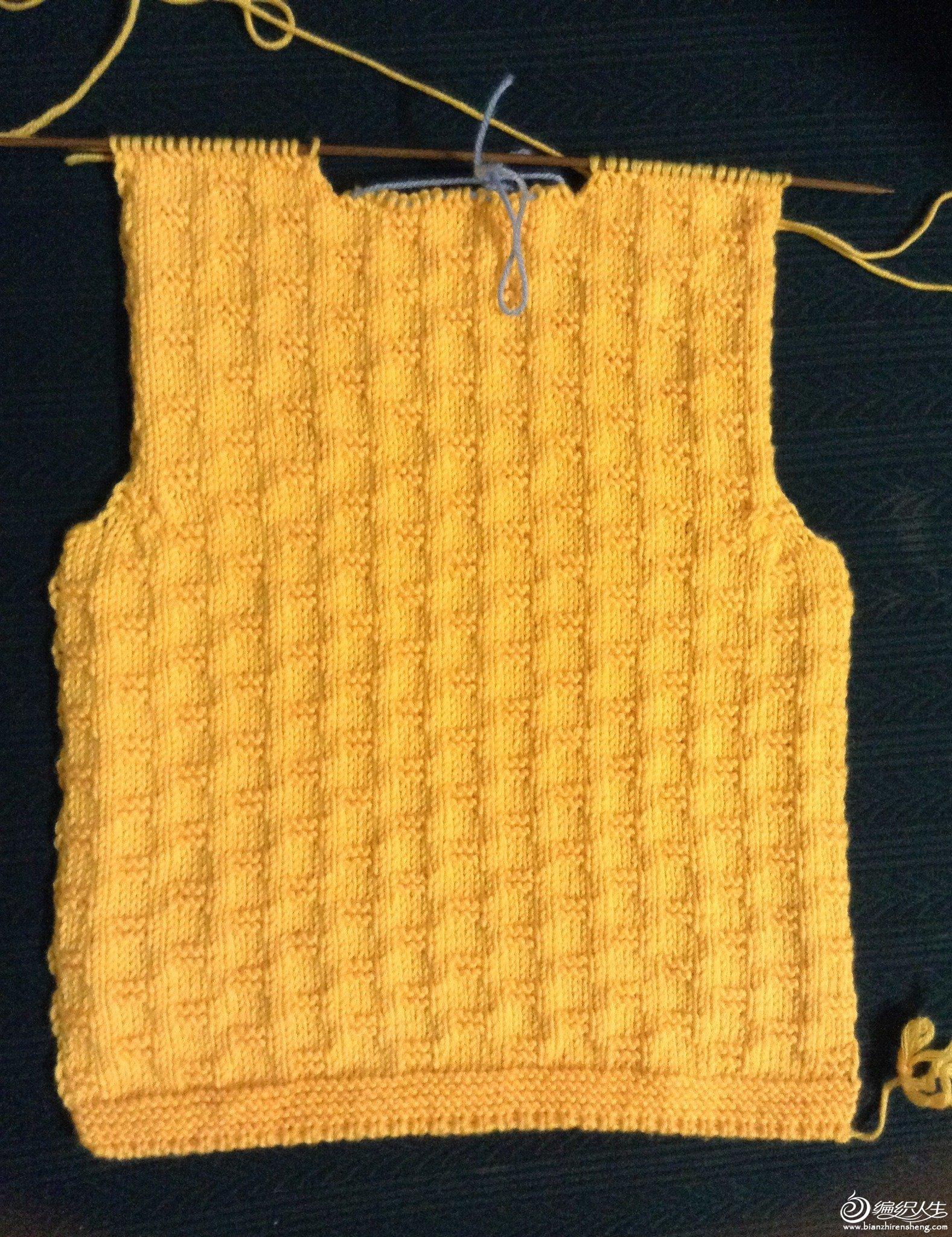 鲜黄圆领开衫宝宝毛衣花型简单好看