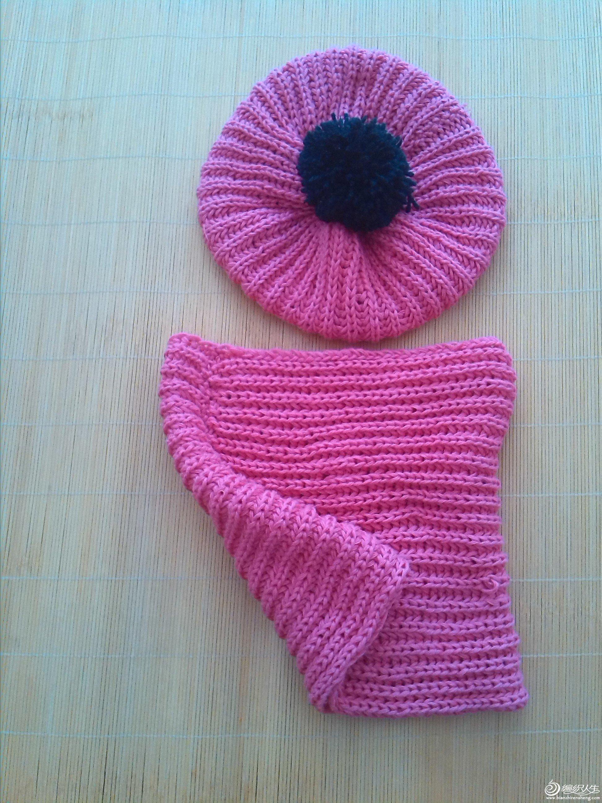 我第一次织的双元宝宝宝帽子围脖