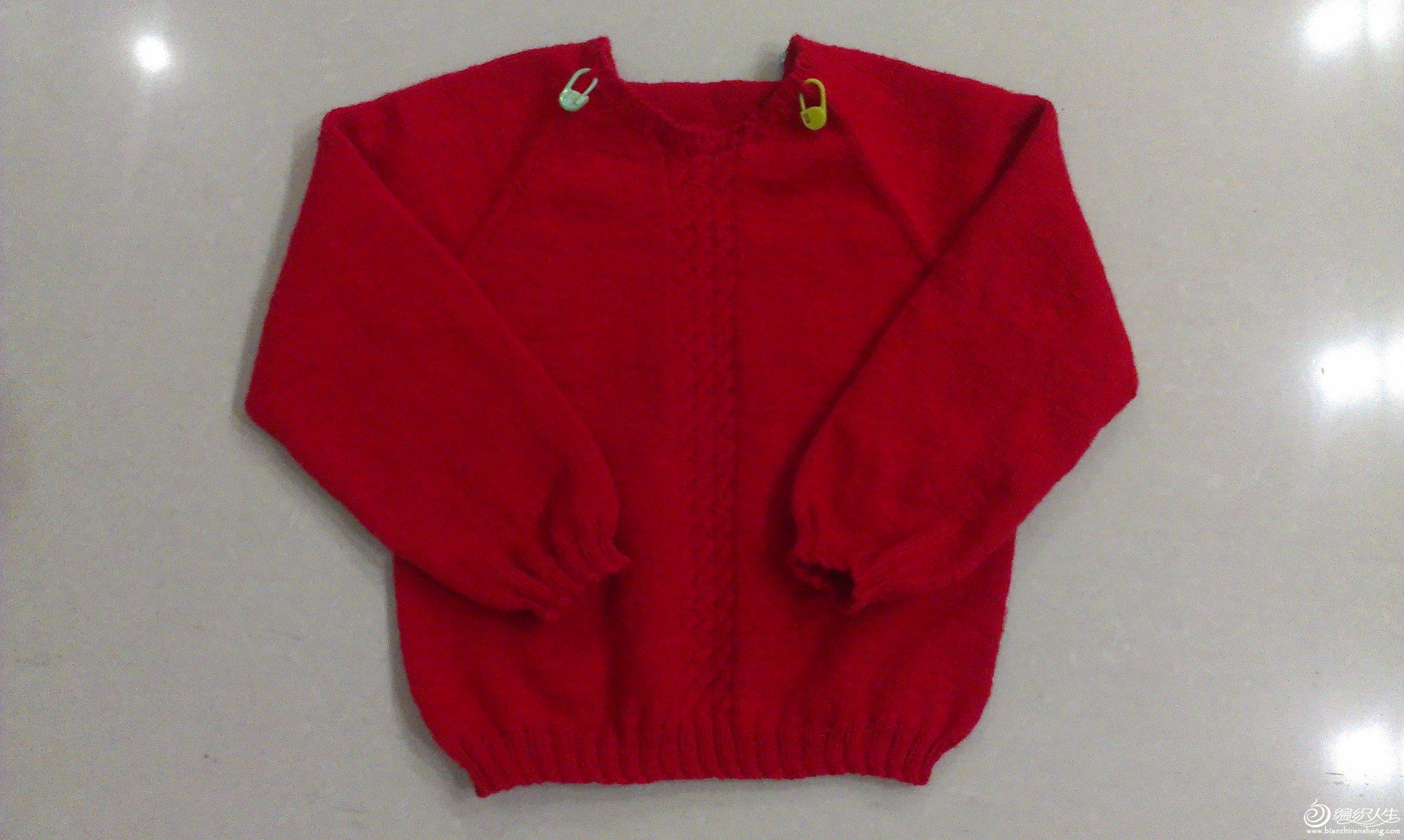 红心------从上往下织的小毛衣,钩针花边领