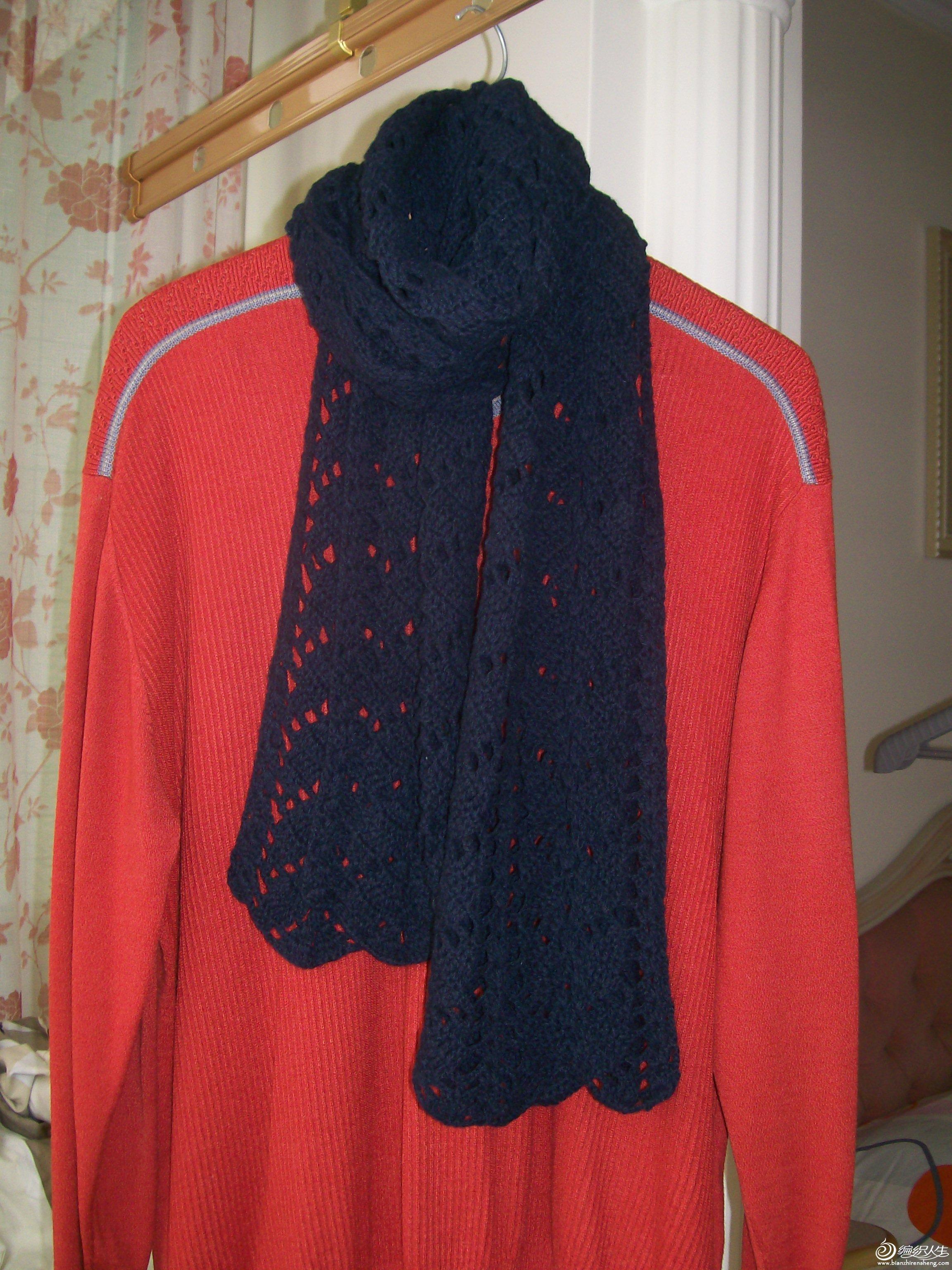 男士藏蓝色纯羊毛围巾:尺寸:180*30,售价:105