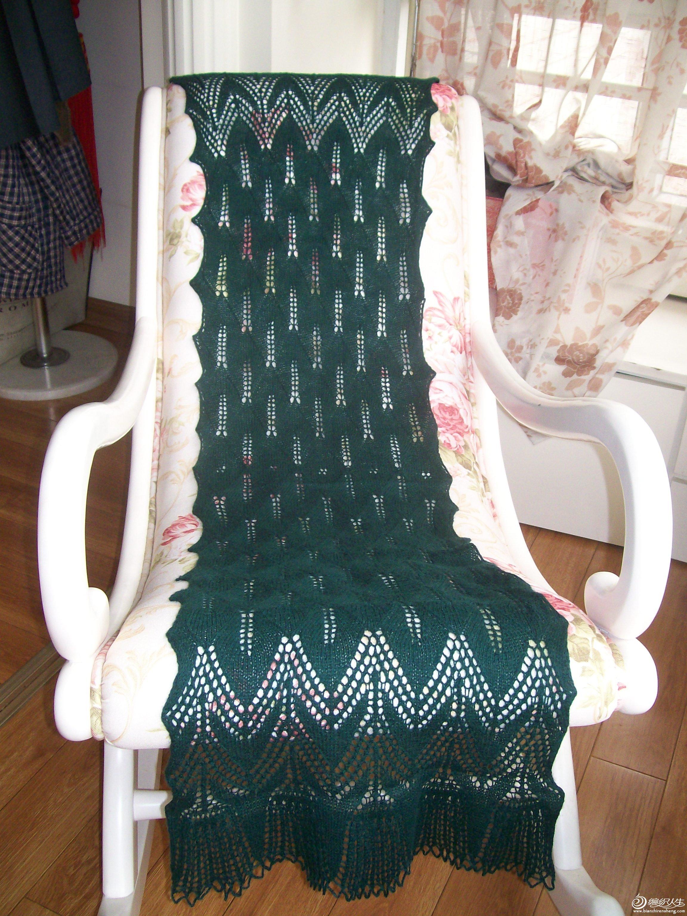 墨绿色纯羊毛长款披肩,材质:尺寸:180*40售价:120