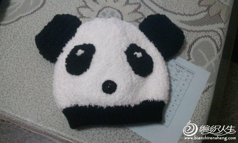 我编织的熊猫帽子和围巾