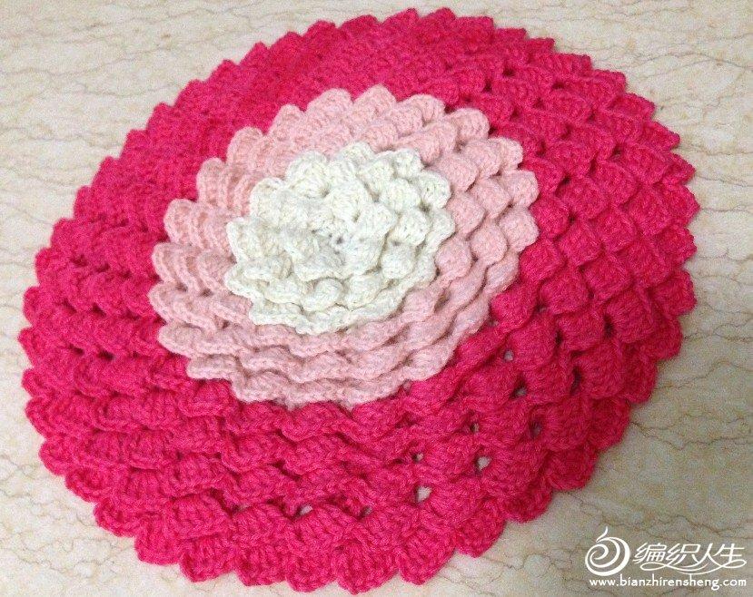 方形毛线坐垫的钩法_渐变色的花朵坐垫,美不胜收-新补充说明 钩法