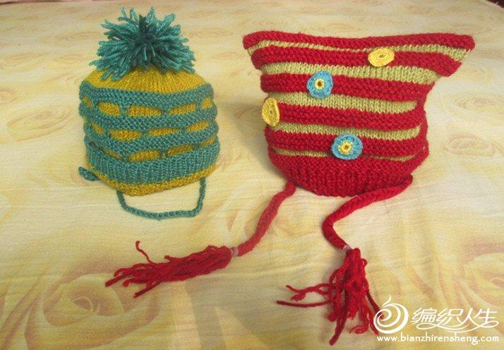 我的棒针作品-婴儿鞋和帽子_编织人生论坛