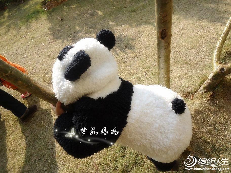 一直超喜欢熊猫,尤其是熊猫宝宝,可爱萌!于是,百度,各论坛,搜织熊猫的帖子,可惜,总是找不到一眼看中的,没办法,只好自己百度找真熊猫的照片,然后我这个新手自己慢慢对着图片织,这是我织的第二件作品,个人是非常满意的,得瑟下,嘿嘿,出门回头率那真高啊,都喊熊猫呢,哈哈 妞身高90cm,体重25斤,给姐妹们一个参考,过程图上面的字看不清可以在图片上点一下,图片就放大可以清楚看见字了 线:长绒线,黑白各6团 针:三燕6号环针80cm和43cm各一 熊猫上树咯
