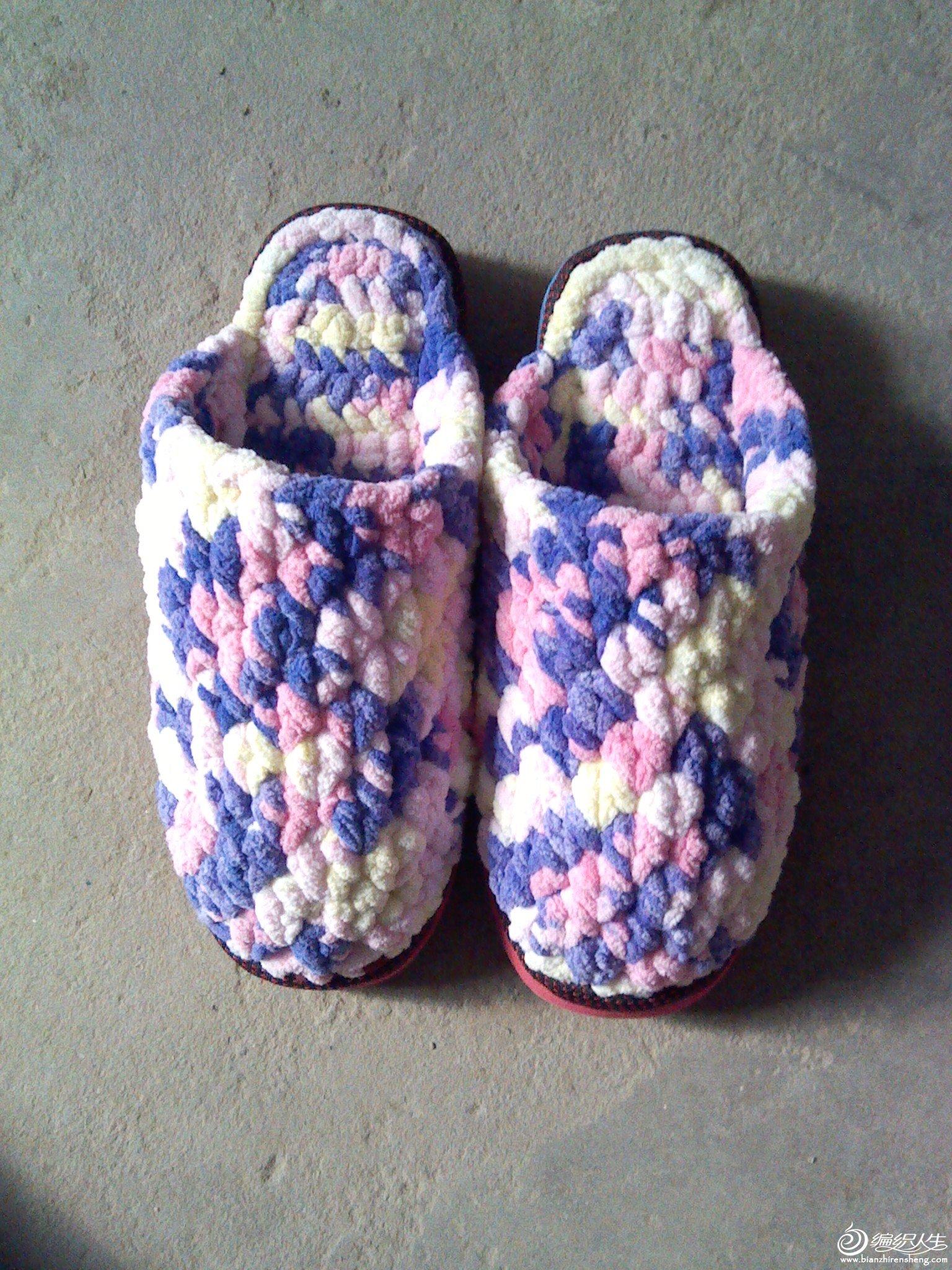 冰条线钩的彩色拖鞋_编织人生论坛