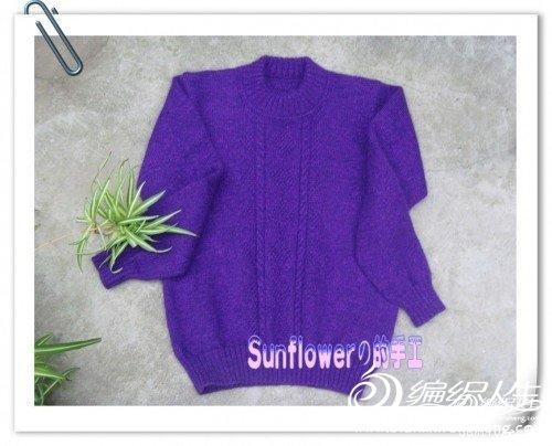 编织 毛衣/紫色儿童羊绒毛衣(有图解和编织说明)