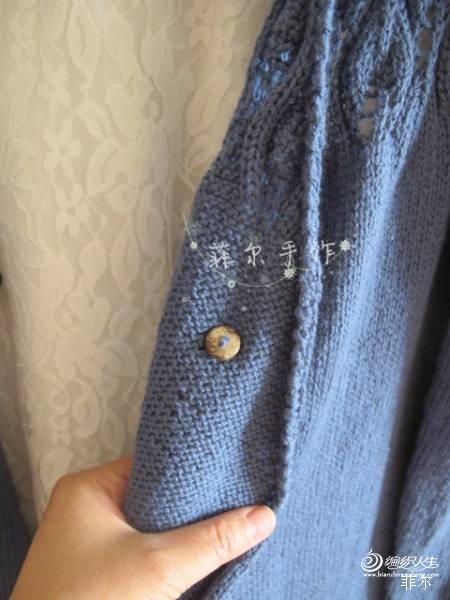 【菲尔手作】枝叶扶疏---长款大V领外搭开衫(美图+女儿真人秀) - 紫藤花瓣 - 月下紫藤