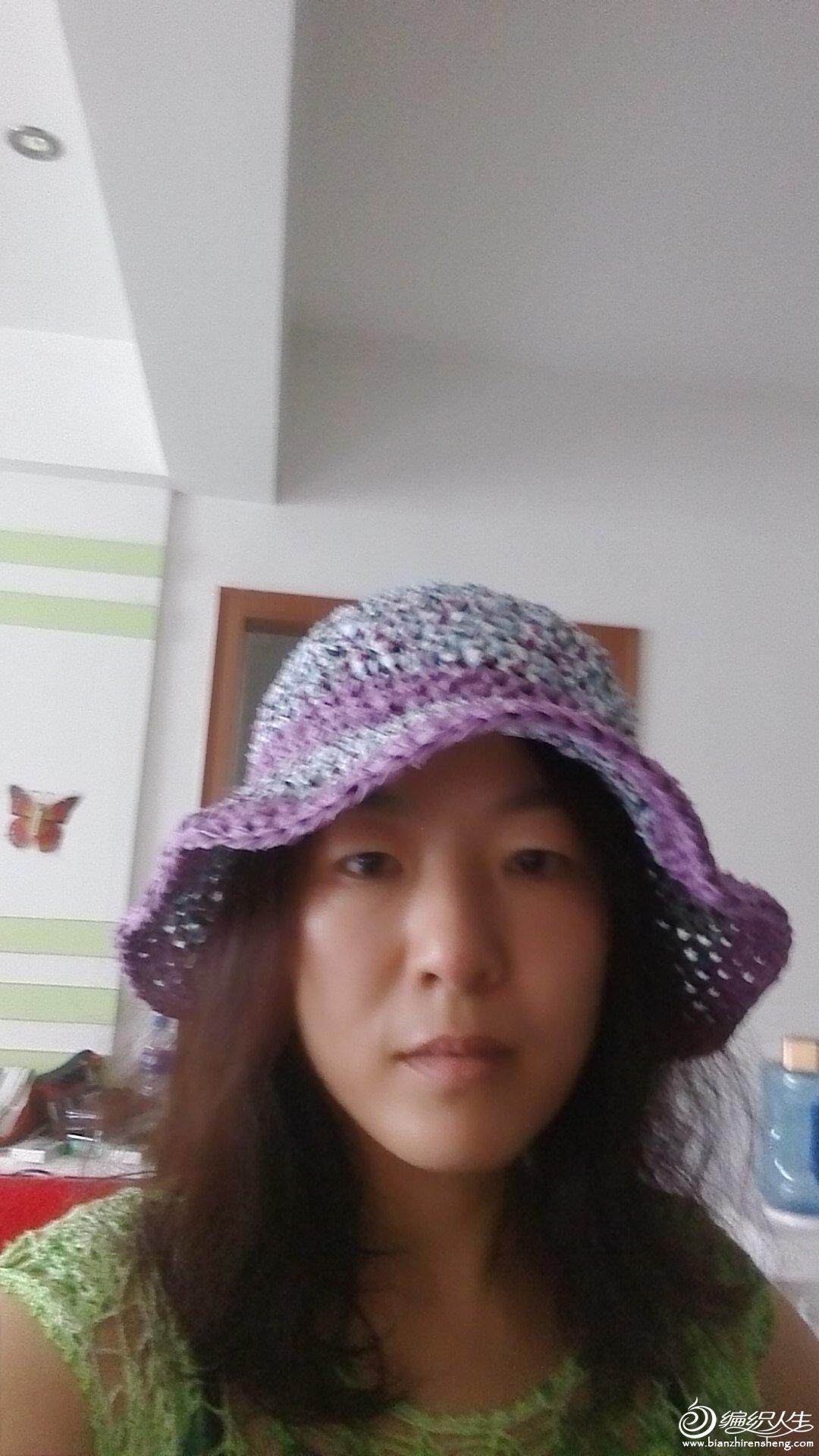 潇湘手工---热带风情之别致布条钩的帽子