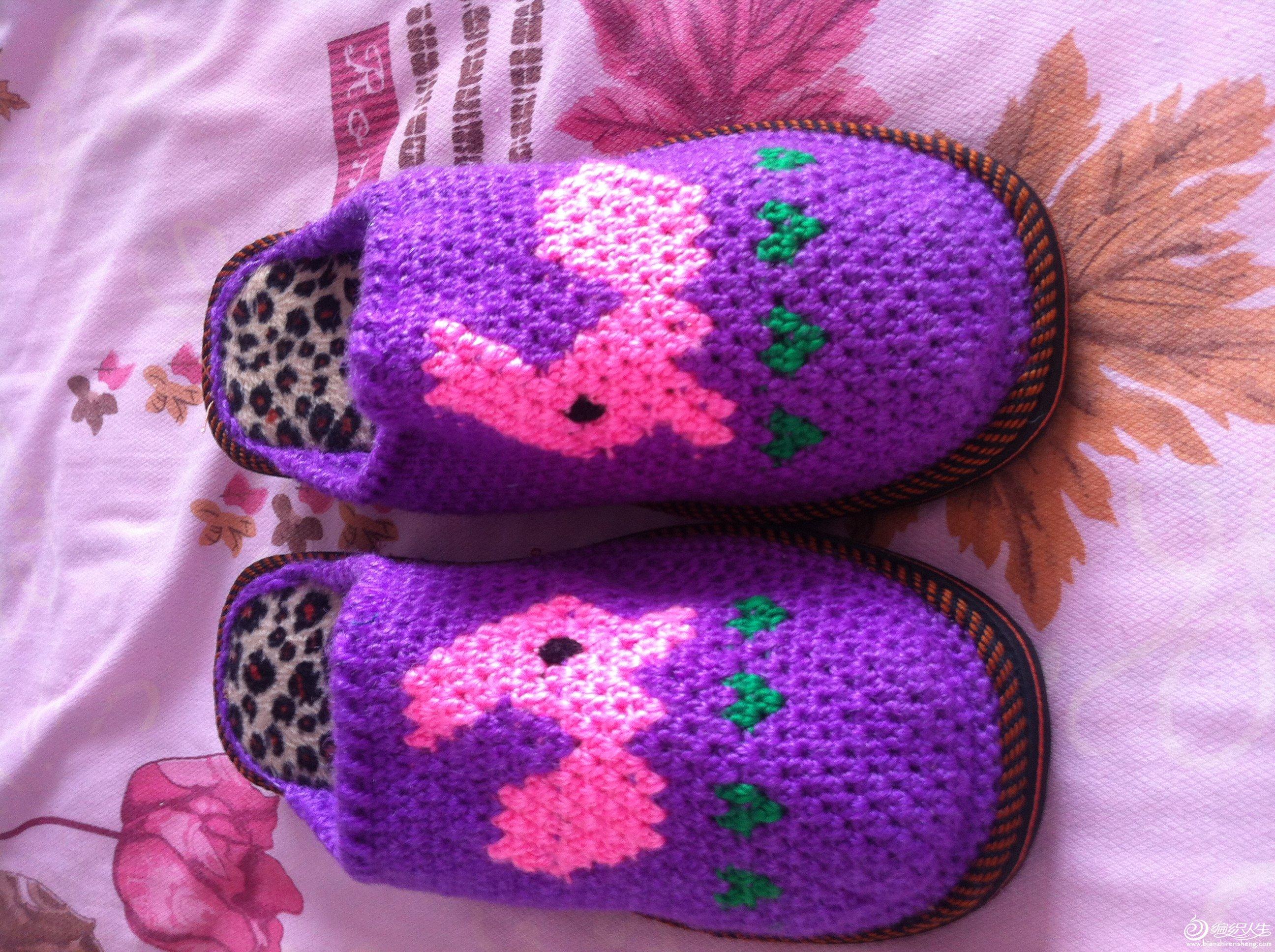 给妈妈的毛线拖鞋