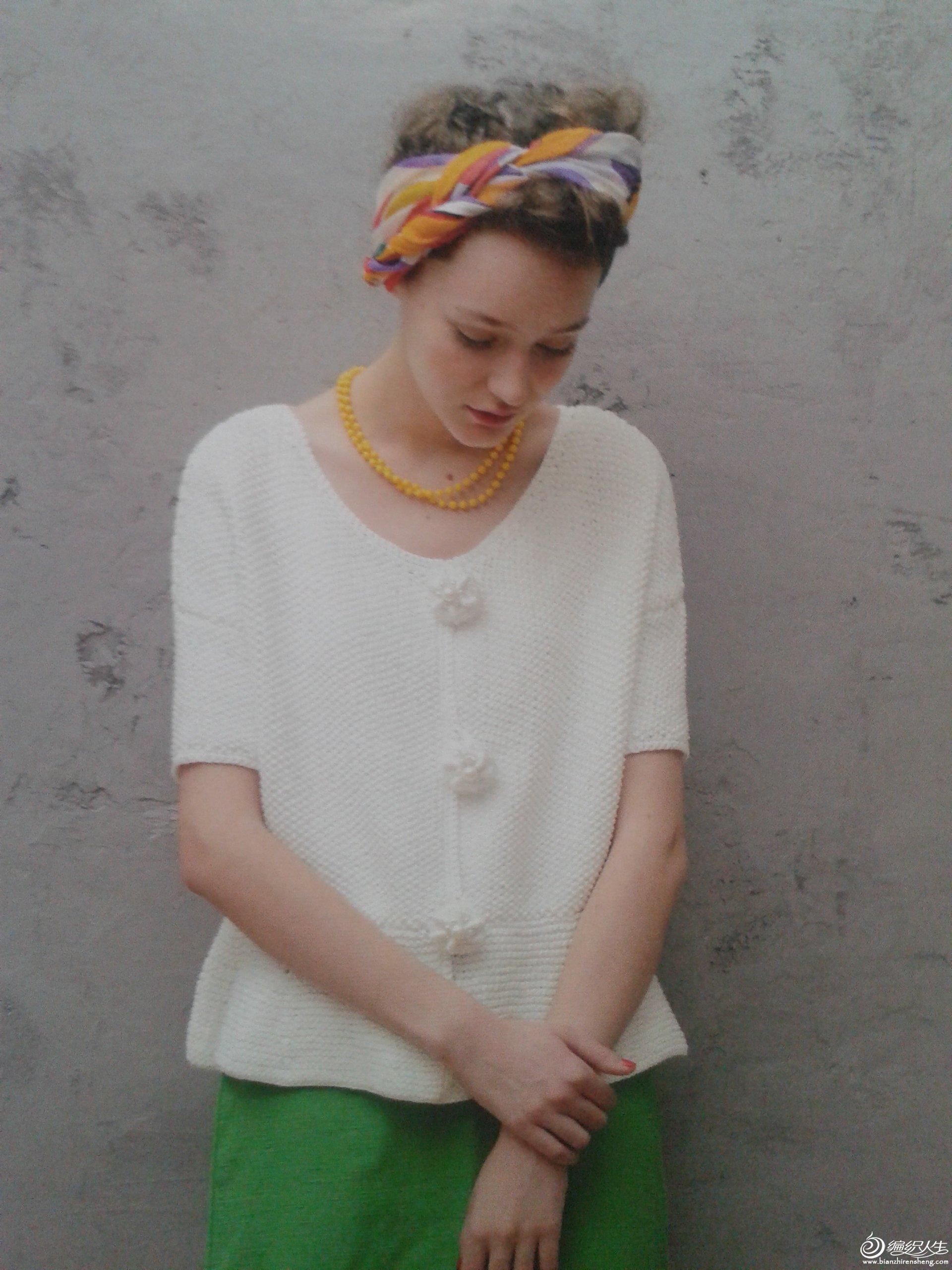 专题 毛线编织花朵  毛线球10-----可爱花朵纽扣小开衫(高清图解)豆园