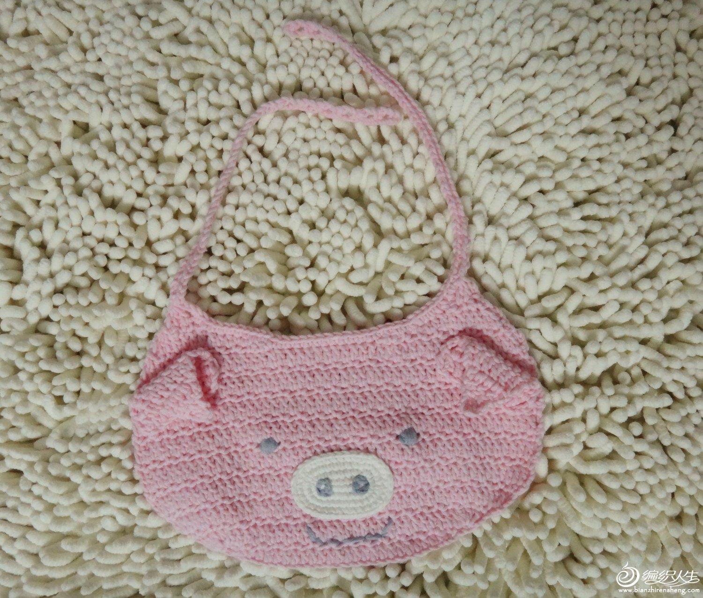 宝宝口水兜 可爱小猪围嘴 有图解哟_编织人生论坛