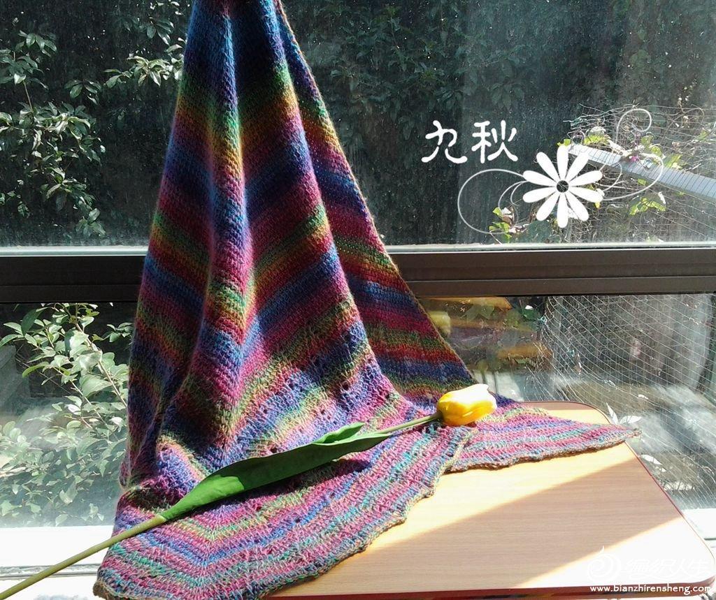 九秋作品 春季天练习曲,阿富汗针法钩针披肩高清图片