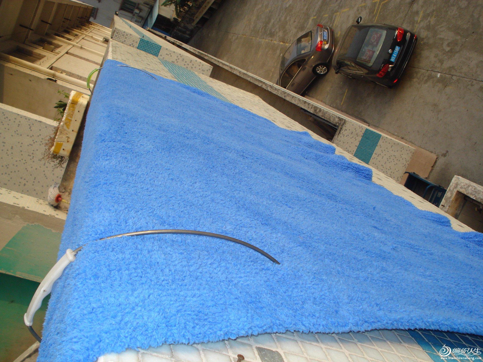 蓝色毛巾毯