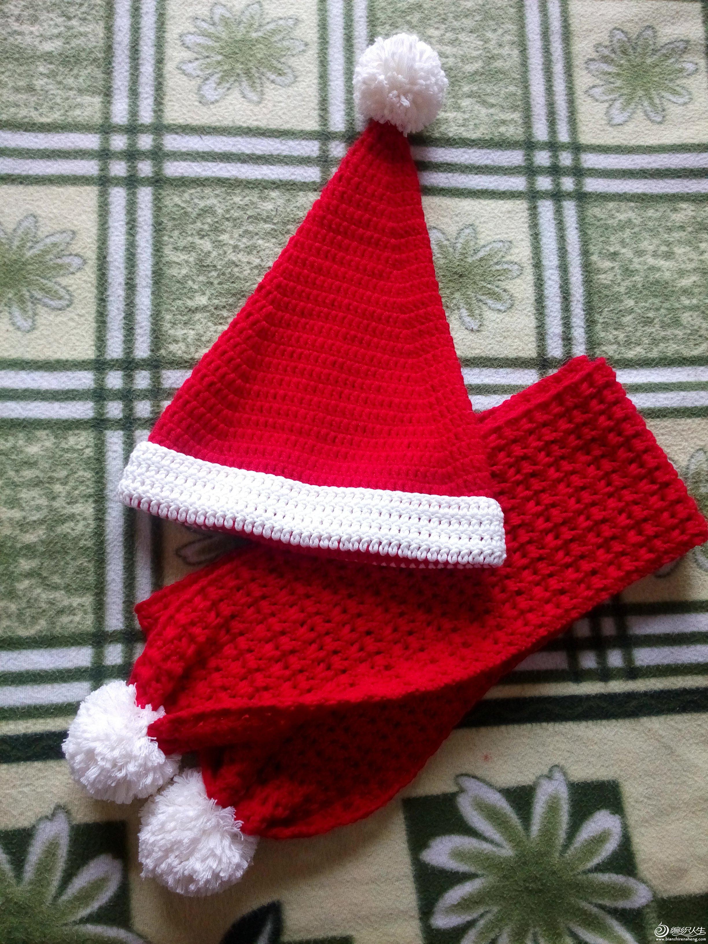 静静手作~钩针~帽子围巾~圣诞套装