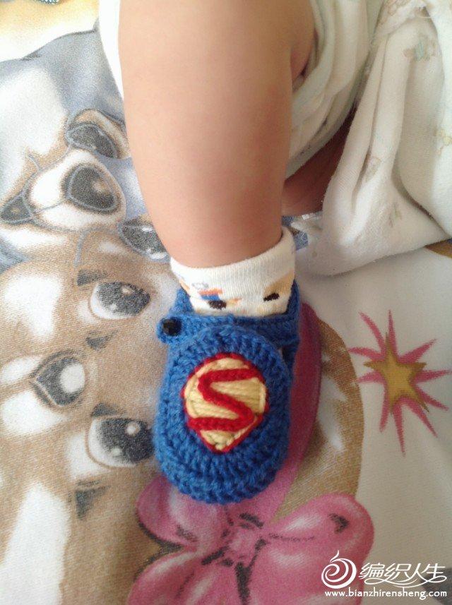 超人鞋子,宝宝的真脚秀。