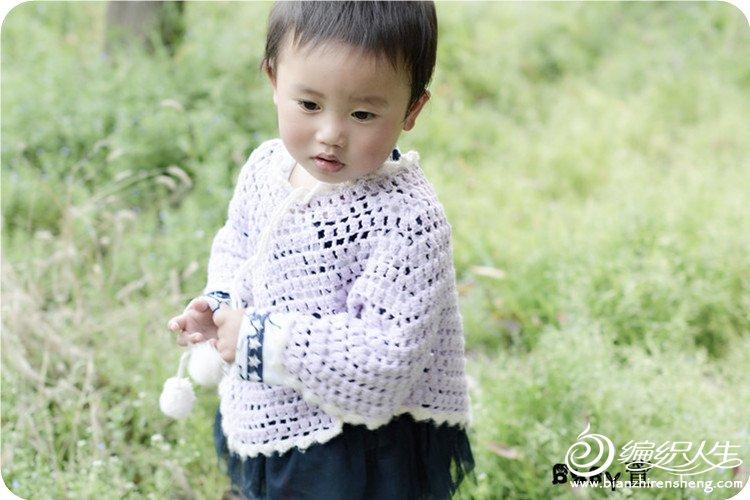仙仙 淡紫钩针宝宝斗篷套头披肩高清图片