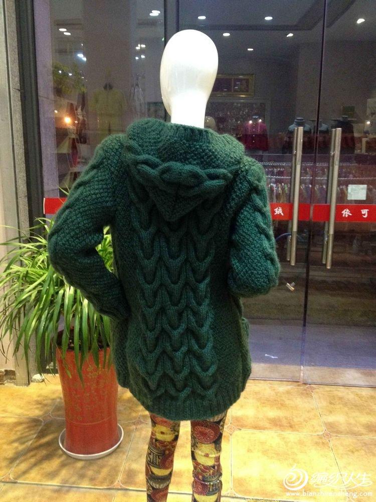 依可爱纯手工编织-森绿色麻花休闲毛衣开衫上集