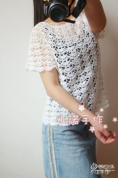 [套头衫] 小诺手作~~画扇~~唯美蕾丝衫(有详细图解及图片步骤) - yn595959 - yn595959 彦妮