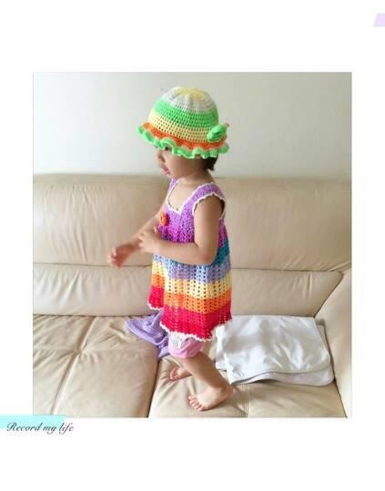 女童波西米亚风彩虹裙钩针背心裙
