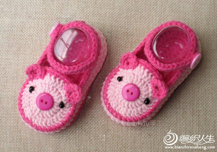 晴天小猪手工钩针编织全棉婴儿宝宝春秋学步鞋全教程 高清图片